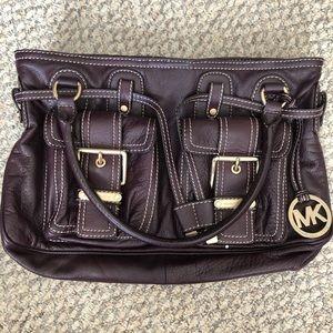 Michael Kors plum leather shoulder bag